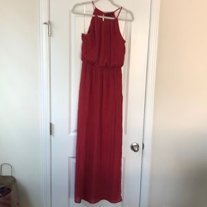 Red High Neck Maxi with Slit